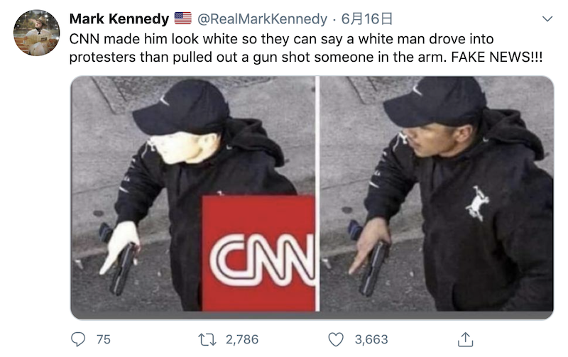 Fabrication: CNN doctored a photo of a man who fired shots into Black Lives Matter protests to make him look white