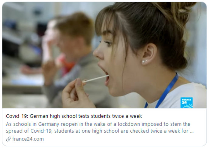 Unsubstantiated information: German high schools get free tests for the novel coronavirus twice a week