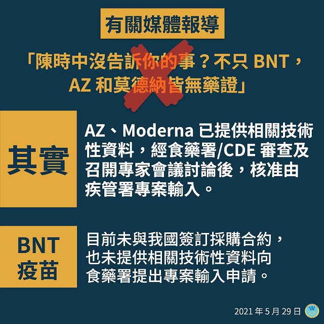 """【Fact Check】 False but already corrected """"The only COVID-19 vaccine approved in Taiwan is made by AstraZeneca"""" claimed by a prefectural assembly member"""